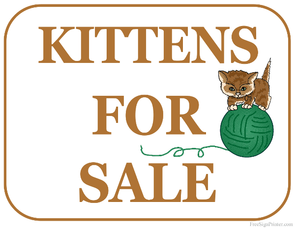 Printable Kittens For Sale Sign