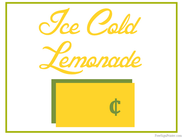Printable Lemonade Stand Sign - 30.5KB