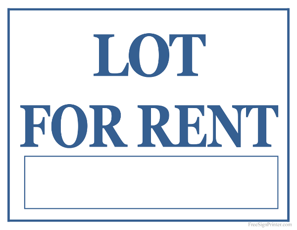 Printable Lot For Rent Sign