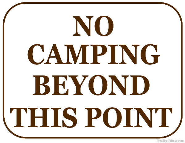 Witty image pertaining to free printable camping signs