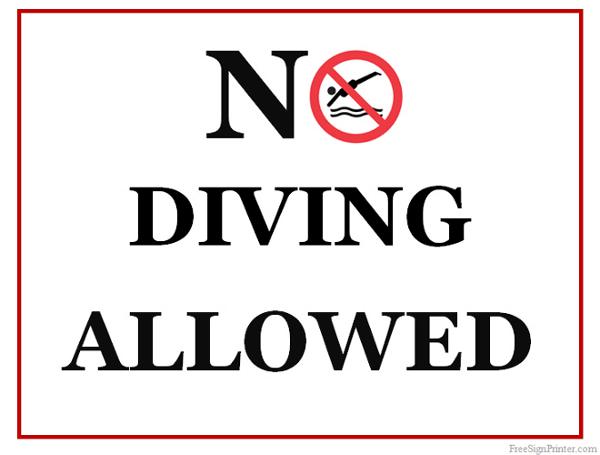 Printable No Diving Allowed Sign