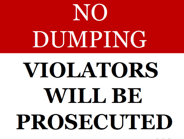 Printable No Dumping Allowed Sign