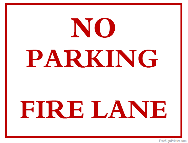Printable No Parking Fire Lane Sign