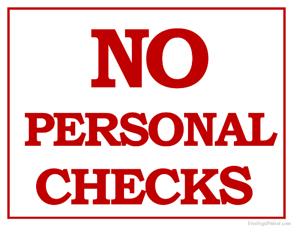 photo relating to Printable Personal Checks identified as Printable No Individual Tests Indicator