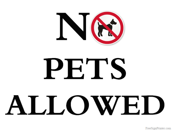 Allowed sign no pets allowed sign