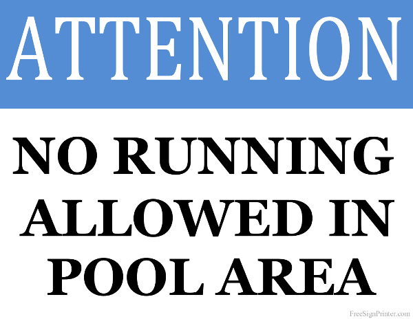 Printable No Running Allowed in Pool Area Sign