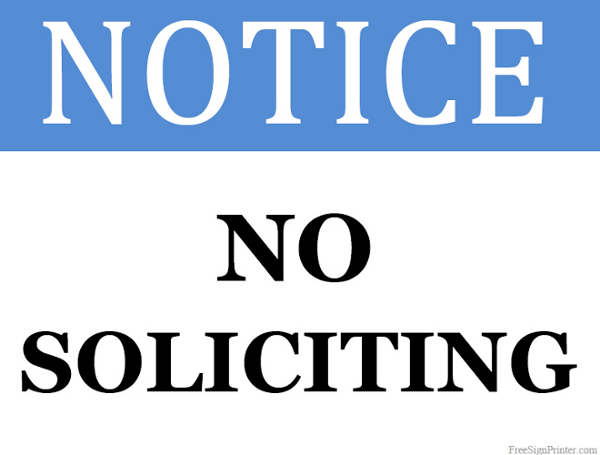 Printable No Soliciting Allowed Sign