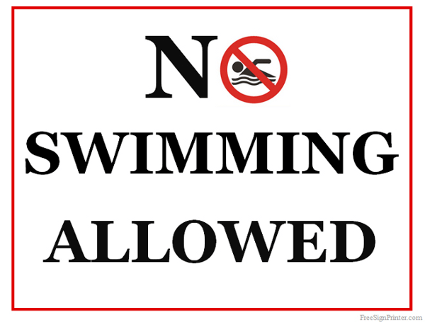 Printable No Swimming Allowed Sign