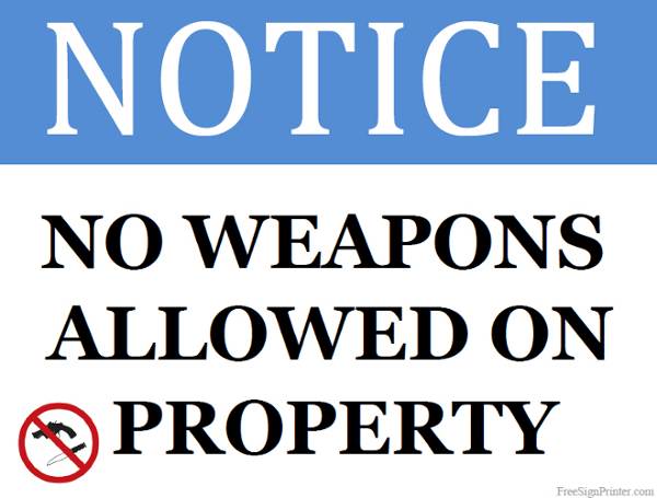 Printable No Weapons Allowed on Property Sign