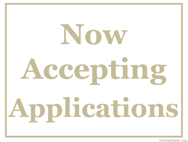 printable now accepting applications sign