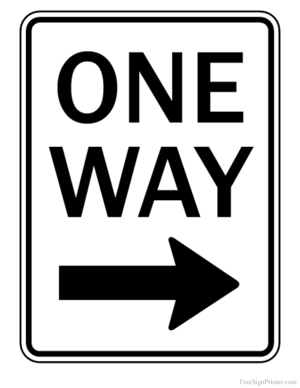 Printable One Way Right Arrow Sign