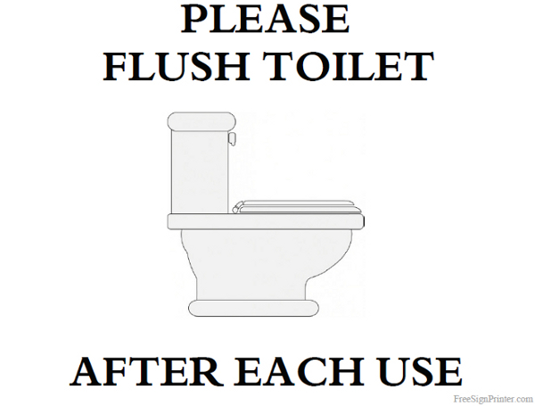 Printable Please Flush Toilet Sign