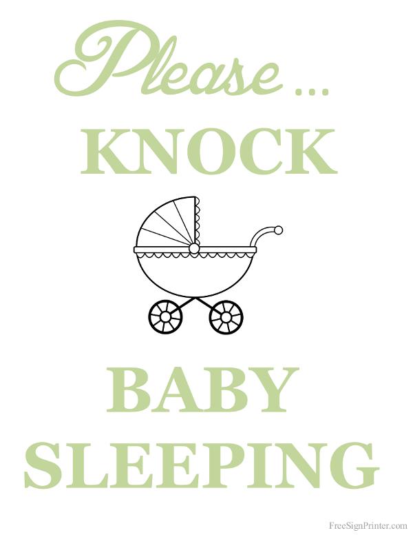 Printable Please Knock Baby Sleeping Sign