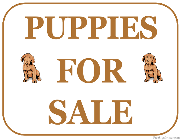 Printable Puppies For Sale Sign