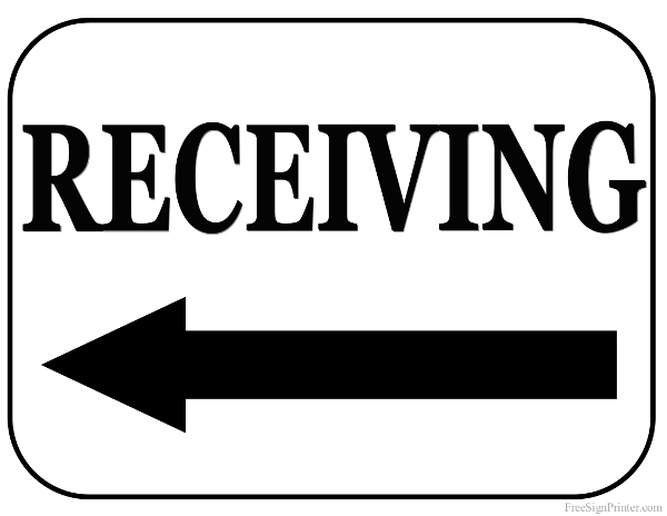 Printable Receiving With Left Arrow Sign