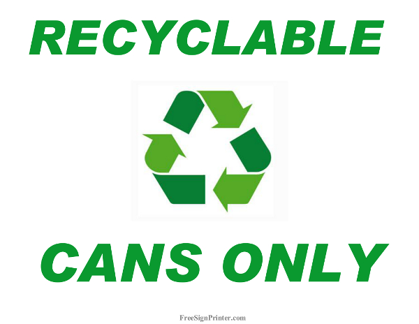 Clean image pertaining to printable recycling signs