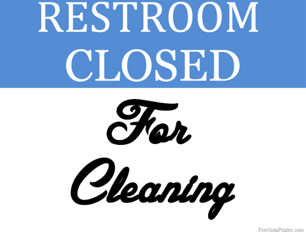 Printable Restroom Closed for Cleaning Sign