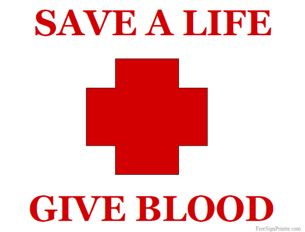 Printable Save a Life Give Blood Sign