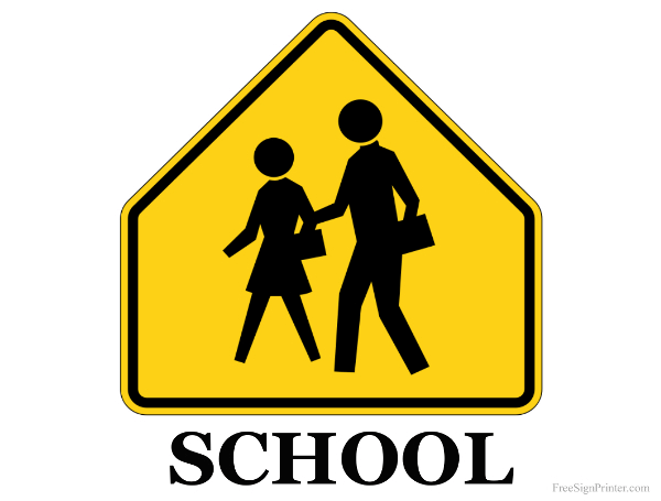 Printable School Crossing Sign