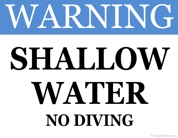 Printable Shallow Water Sign