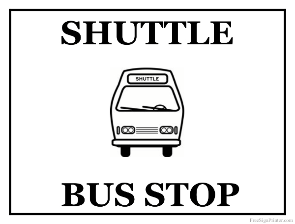 Printable Shuttle Bus Sign