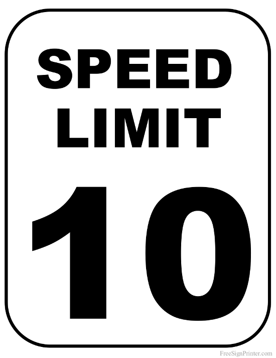 Printable 10 MPH Speed Limit Sign