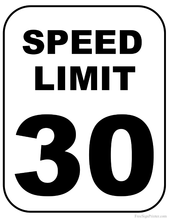 Printable 30 MPH Speed Limit Sign