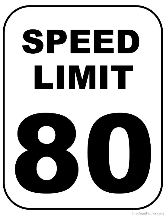 Printable 80 MPH Speed Limit Sign