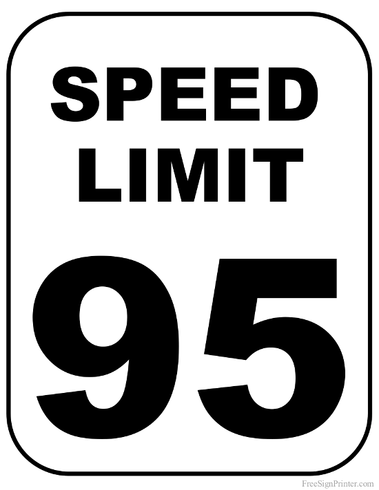 Printable 95 MPH Speed Limit Sign