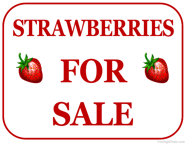 Printable Strawberries For Sale Sign