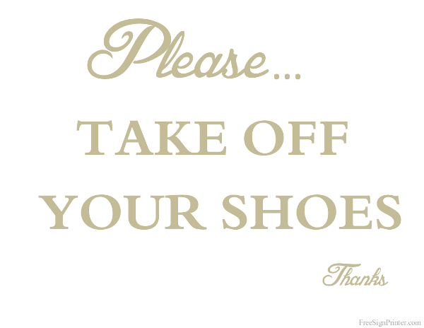 Printable Take Off Your Shoes Sign
