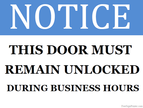 Printable This Door Must Remain Unlocked Sign