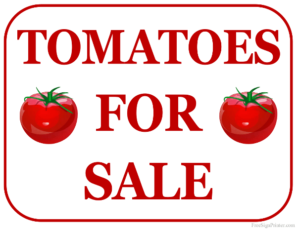 printable tomatoes for sale sign