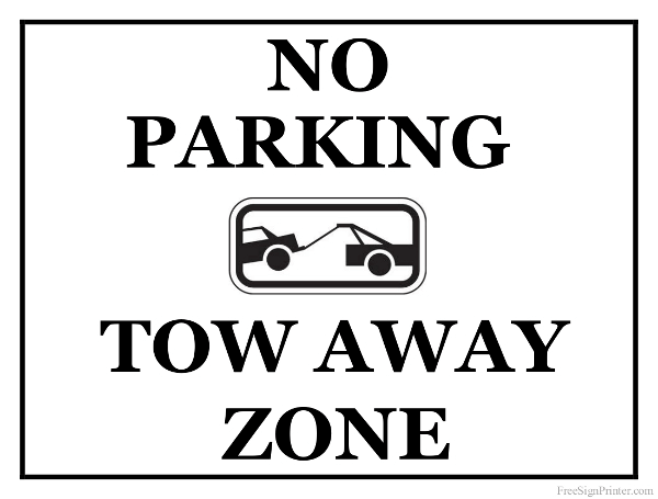 Printable Tow Away Zone Sign