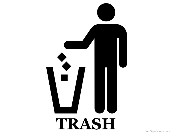 Trash Sign Printable trash can sign