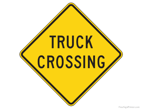 Printable Truck Crossing Sign