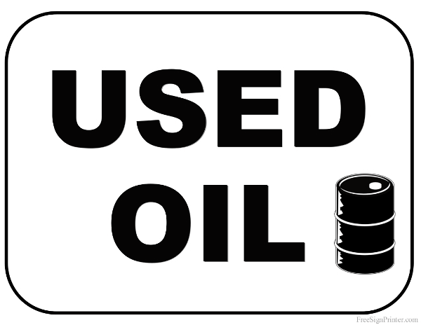 Printable Used Oil Sign