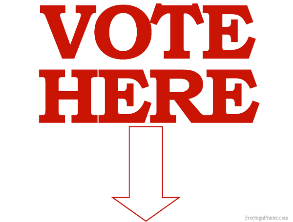 Printable Vote Here Sign