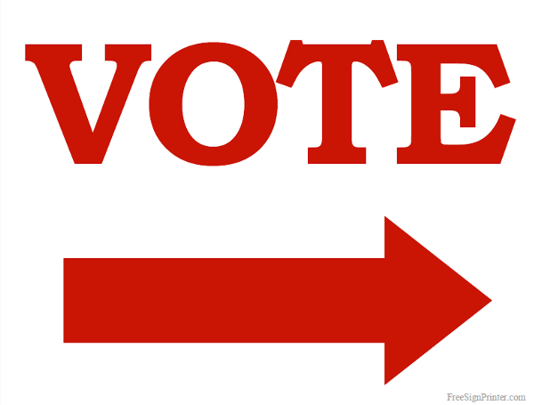 Printable Vote Sign with Right Arrow