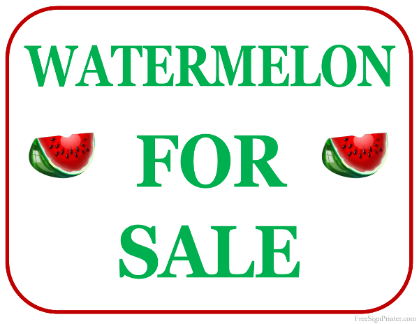 printable watermelon for sale sign