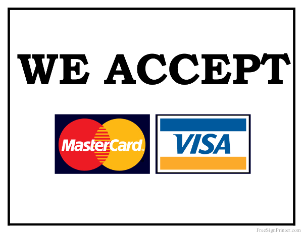 Resource image with regard to we accept credit card signs printable