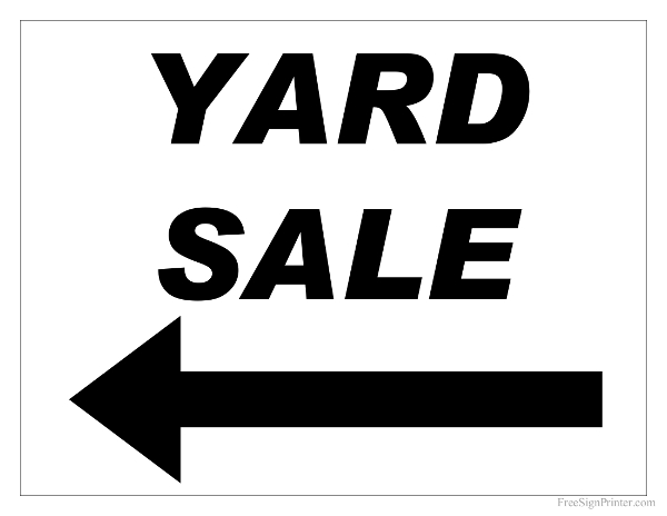 Free Printable Yard Sale Sign With Left Arrow