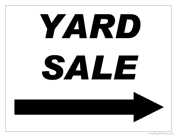 free printable yard sale sign with right arrow