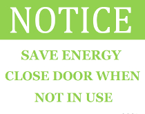 Save Energy Shut Door Sign