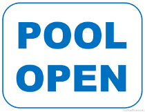 Swimming Pool Open Sign