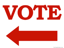 Vote Sign with Arrow Pointing Left Sign