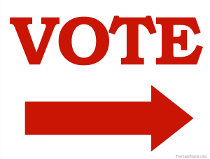 Vote Sign with Arrow Pointing Right Sign