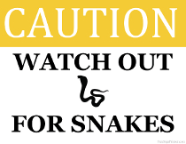 Watch Out for Snakes Sign